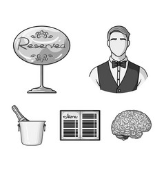 waiter reserve sign menu champagne in an ice vector image