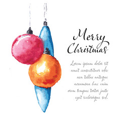 watercolor christmas card template vector image