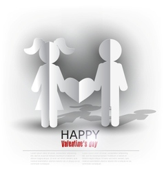 White paper Men and Woman with heart on red vector image