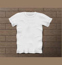 White realistic male t-shirt with short sleeves vector
