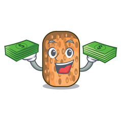With money fried tempeh snack above cartoon leaf vector