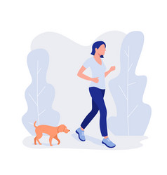 Woman and dog run healthy lifestyle working out vector