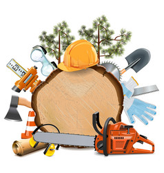 Wooden Board with Chainsaw vector image