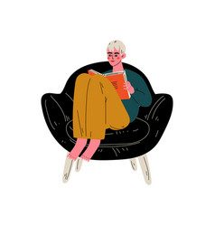 Young man sitting in armchair and reading book vector