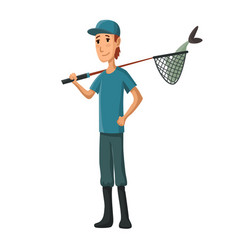 young man with fish net in his hand boy with fish vector image