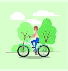 young woman in bicycle on park vector image