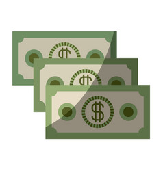 colorful silhouette of money bills set with half vector image