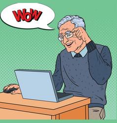 pop art happy senior man working with laptop vector image vector image