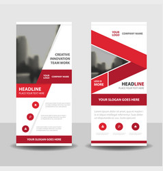 red business roll up banner flat design vector image vector image
