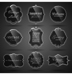 Set of glass labels vector image