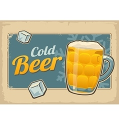 Vintage poster cold beer and snowflake Retro vector image vector image