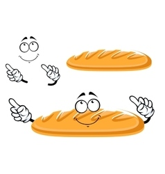 Baguette bread character isolated on white vector image vector image