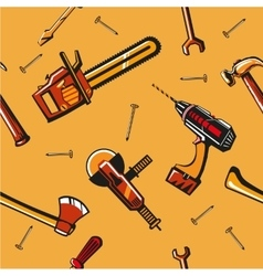 Seamless pattern with construction tools vector image vector image