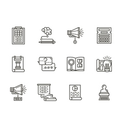 SMM flat line icons collection vector image vector image