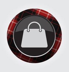 button with red black tartan - shopping bag icon vector image vector image