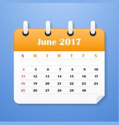 european calendar for june 2017 vector image vector image