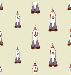 rocket seamless pattern vector image