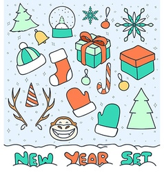 Set 20 Christmas doodle sketch objects for vector image vector image