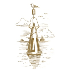 Buoy in the sea drawn by hand vector image vector image
