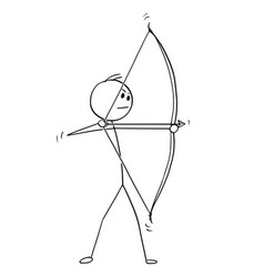 cartoon of archer with bow and arrow vector image