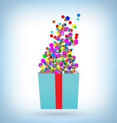 confetti with gift box on blue vector image