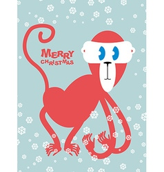 Happy Christmas Red monkey symbol of new year Cute vector image