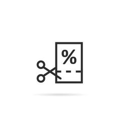 thin line black scissors cuts discounts coupon vector image