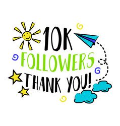 10k followers thank you badge blog vector