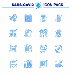 16 blue coronavirus disease and prevention icon vector image
