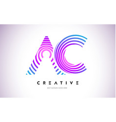 Ac lines warp logo design letter icon made with vector