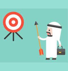 arab businessman holding arrow and look at target vector image