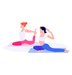 Athletic young women working out stretching vector