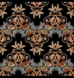 Baroque embroidery seamless pattern tapestry vector