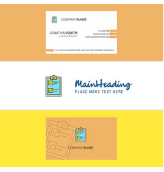 beautiful check list logo and business card vector image