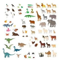 Big set cartoon animals vector