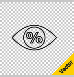 black line eye with percent icon isolated on vector image