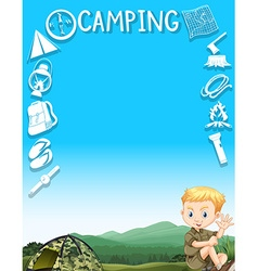 Border design with boy camping out vector image