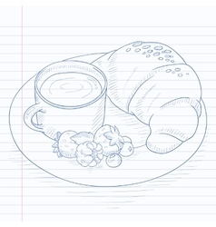 Breakfast with coffee croissant and berries vector