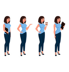 Business woman in office dress holding folder vector