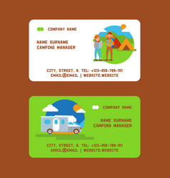 camping manager set business cards vector image