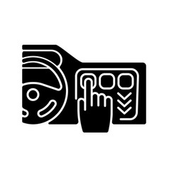 Car with touchscreen display black glyph icon vector