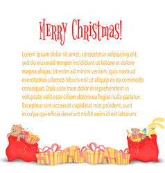 card the banner with christmas gifts and bags of vector image