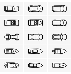 Cars and boats top view vector