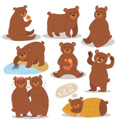 cartoon bear character different pose set vector image