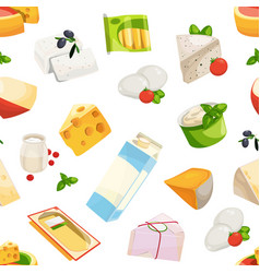 Cartoon dairy and cheese products pattern vector