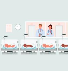 cartoon doctor neonatologist happy parent vector image