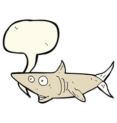 cartoon happy shark with speech bubble vector image