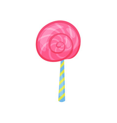 cartoon icon of strawberry lollipop in flat style vector image