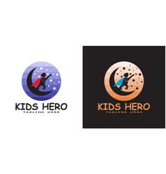 Child logo reaching for star kids dream icon vector