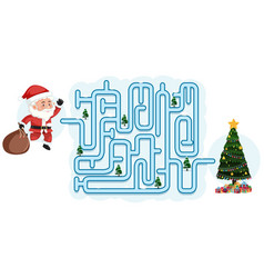 Christmas maze puzzle game template vector